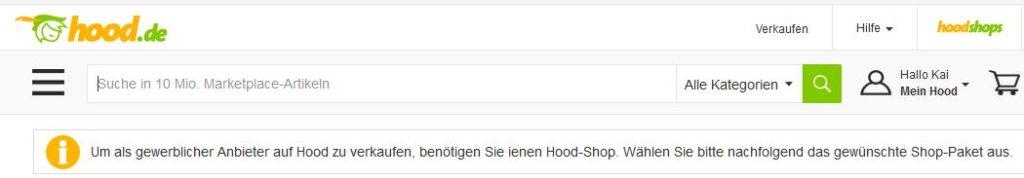 Verkaufen auf Hood.de