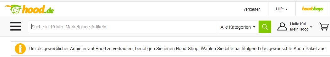 Kein kostenloses Verkaufen mehr auf Hood.de