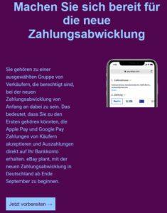 Ebay neue Zahlungabwicklung kommt nach Deutschland