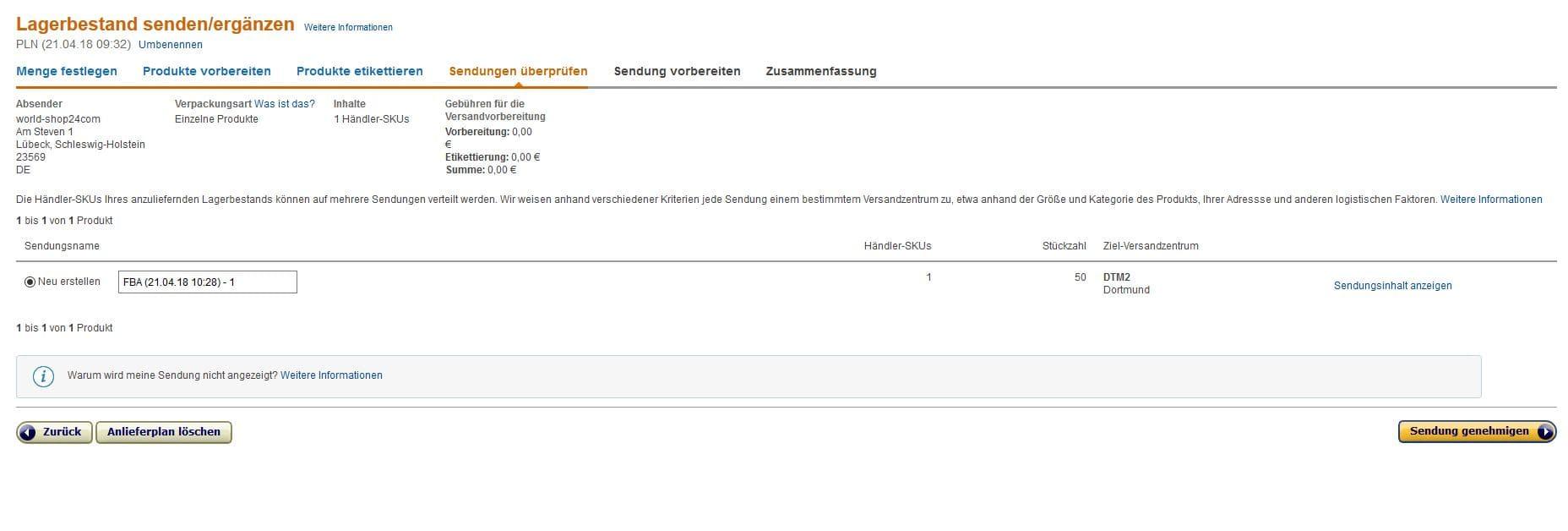 Versand durch Amazon- Sendung anlegen