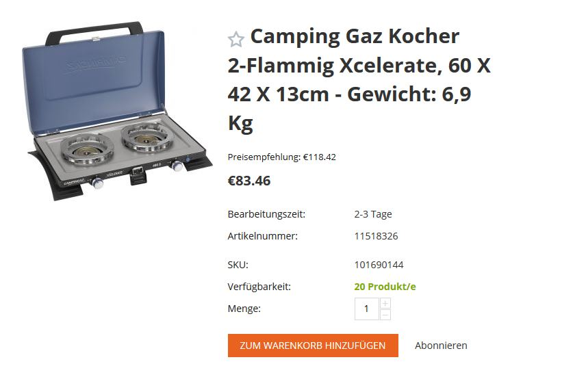 Dropshipping Gaskocher