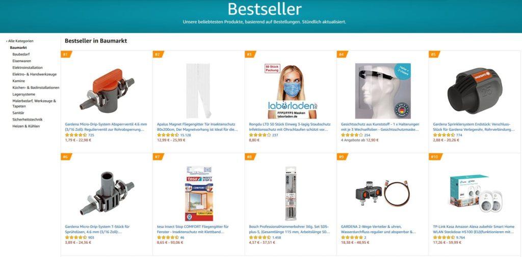 Amazon Bestsellerliste Baumarkt
