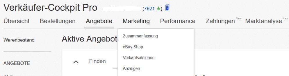 eBay Verkäufer Cockpit Marketing