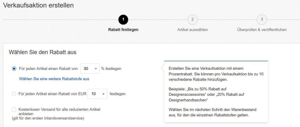 eBay Verkaufsaktion Preissenkung