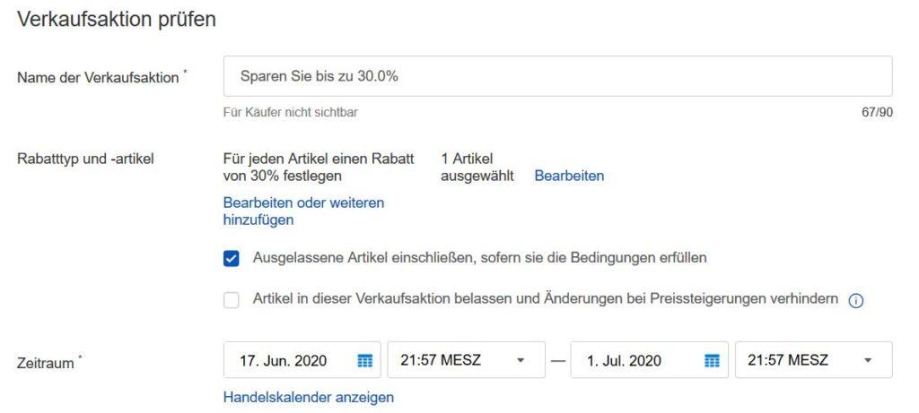 Ebay Verkaufsaktion Überprüfung