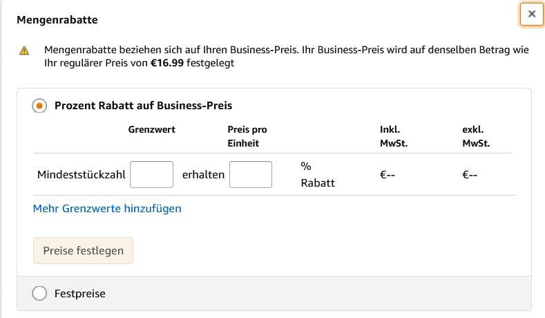 Mengenrabatte für Amazon Business Kunden