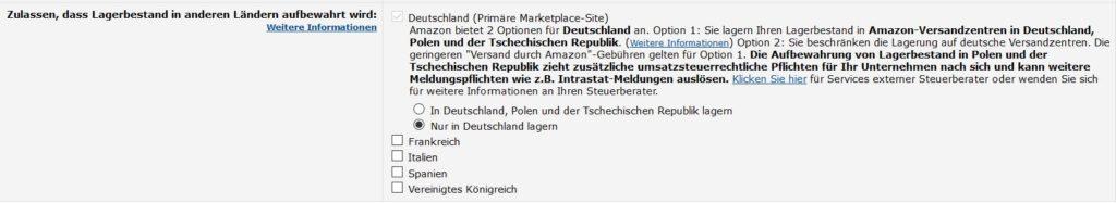 Amazon Lagerbestand nur in Deutschland