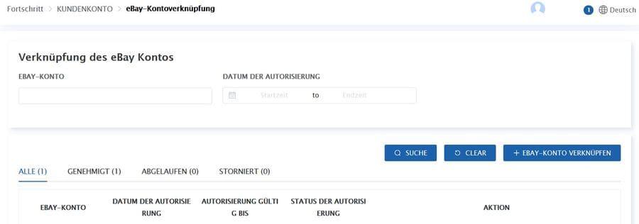 Ebay Fulfillment Konto mit Connex verknüpfen