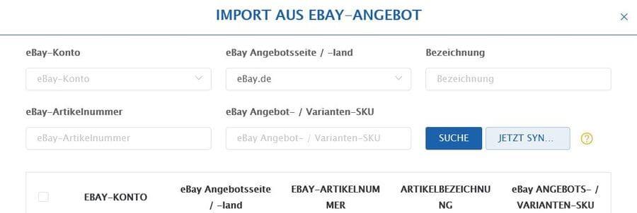 Connex Ebay Artikel importeren