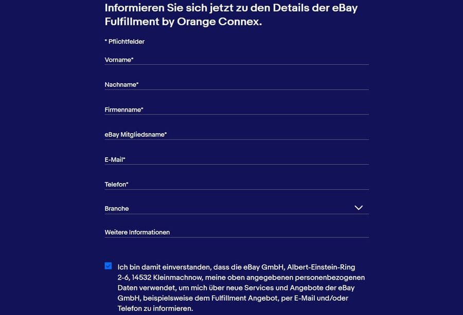 Ebay Fulfillment Kontaktformular