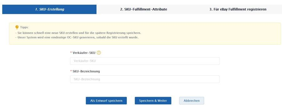 Ebay Fulfillment SKU erstellen