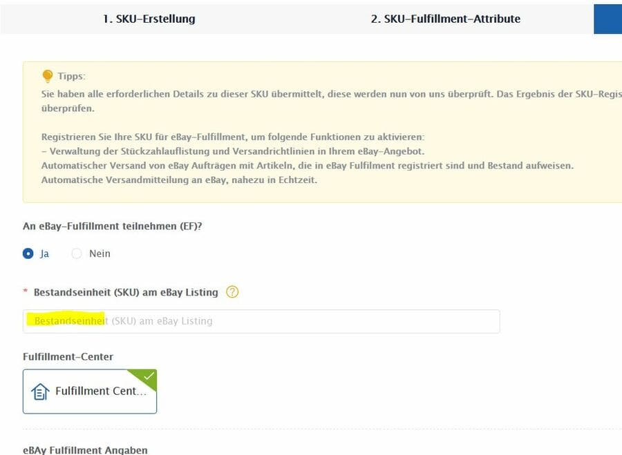 Ebay Fulfillment - Artikel registrieren