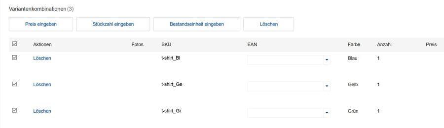 Ebay SKU erstellen Variantenangebot