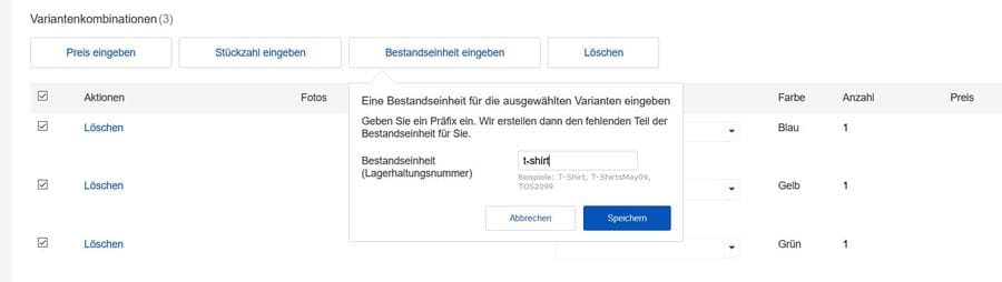 Ebay SKU erstellen für Variantenangebot