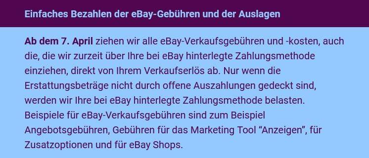 Ebay Zahlungsabwicklung Gebühren
