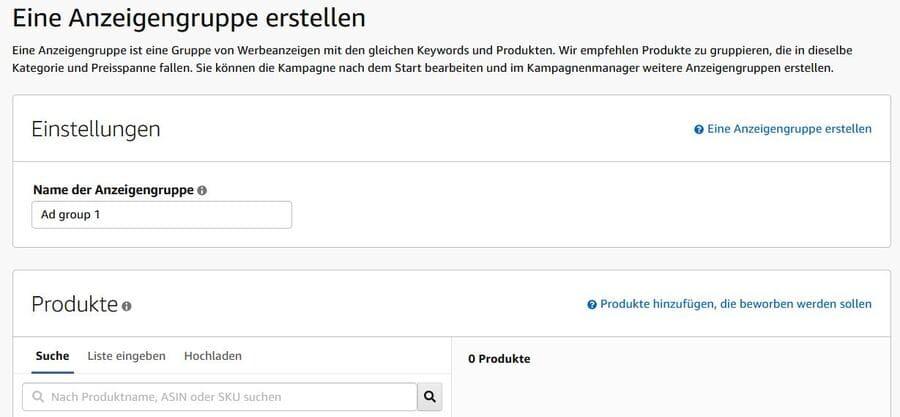 Amazon Sponsored Products - Anzeigengruppe erstellen