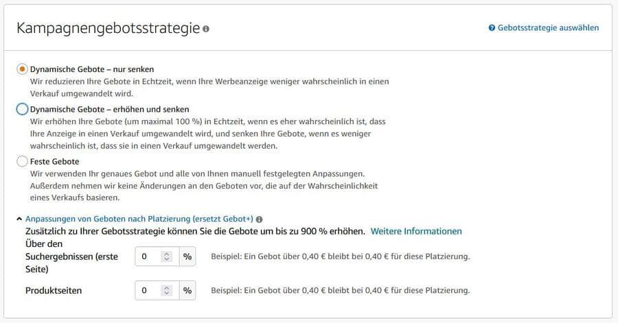 Amazon Sponsored Products mit manueller Ausrichtung - Gebotsstrategien