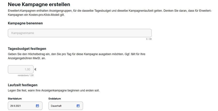 Ebay Anzeigen erweitert Kampagne erstellen